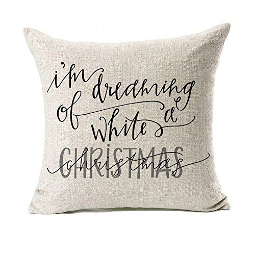 Dreaming White Christmas Throw Pillow Case Cushion Cover Decor Cotton Linen 18 X 18 0