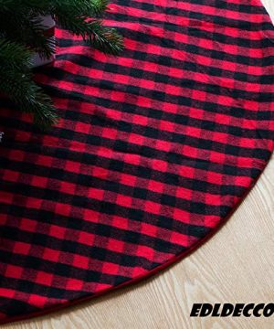 EDLDECCO 48 Inches Christmas Tree Skirt Red And Black Plaid Buffalo Check Double Layers Handicraft Xmas Decoration Holiday Ornaments 0 300x360