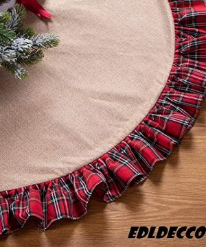 EDLDECCO 48 Inch Christmas Tree Skirt Pastoral Style Plaid Black Buffalo Check Ruffle Edge Burlap Tree Skirt A Fine Decoration Gift For Home And Holiday Party 0 300x360