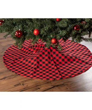 EDLDECCO Christmas Tree Skirt 48 Inches Buffalo Check Red And Black Plaid XMas Holiday Party Decor Ornaments 0 300x360