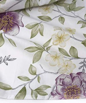 ENVOGUE French Country Provincial Wildflower Print Cotton Shower Curtain Modern Rustic Soft Vintage Floral Bird Butterly Botanical Nature Muted Color Bird Garden White 0 1 300x360