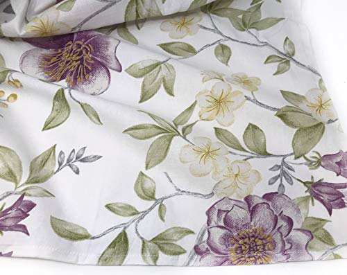 ENVOGUE French Country Provincial Wildflower Print Cotton Shower Curtain Modern Rustic Soft Vintage Floral Bird Butterly Botanical Nature Muted Color Bird Garden White 0 1