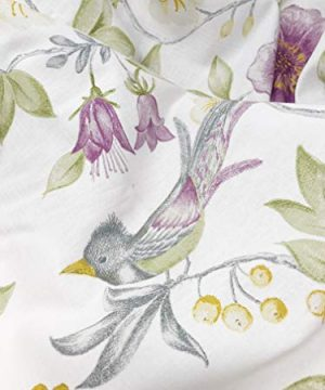 ENVOGUE French Country Provincial Wildflower Print Cotton Shower Curtain Modern Rustic Soft Vintage Floral Bird Butterly Botanical Nature Muted Color Bird Garden White 0 2 300x360