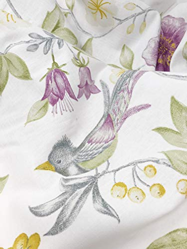 ENVOGUE French Country Provincial Wildflower Print Cotton Shower Curtain Modern Rustic Soft Vintage Floral Bird Butterly Botanical Nature Muted Color Bird Garden White 0 2