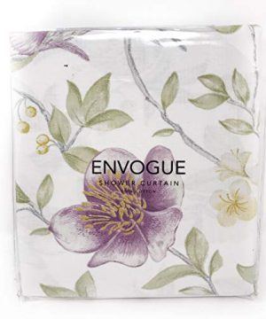 ENVOGUE French Country Provincial Wildflower Print Cotton Shower Curtain Modern Rustic Soft Vintage Floral Bird Butterly Botanical Nature Muted Color Bird Garden White 0 3 300x360