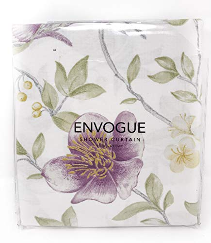 ENVOGUE French Country Provincial Wildflower Print Cotton Shower Curtain Modern Rustic Soft Vintage Floral Bird Butterly Botanical Nature Muted Color Bird Garden White 0 3
