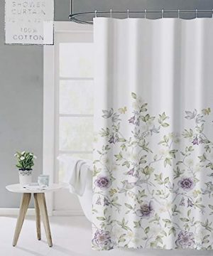 ENVOGUE French Country Provincial Wildflower Print Cotton Shower Curtain Modern Rustic Soft Vintage Floral Bird Butterly Botanical Nature Muted Color Bird Garden White 0 300x360