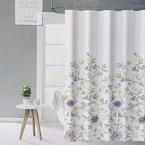 ENVOGUE French Country Provincial Wildflower Print Cotton Shower Curtain Modern Rustic Soft Vintage Floral Bird Butterly Botanical Nature Muted Color Bird Garden White 0