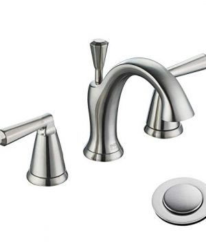 ENZO RODI Bathroom Faucet Two Handle 3 Holes Widespread Bathroom Sink Faucet With Lift Pop Up Drain Assembly Brushed Nickel Certified By UPCAB 1953 Lead Free NSF Standrard ERF2212254AP 10 0 300x360