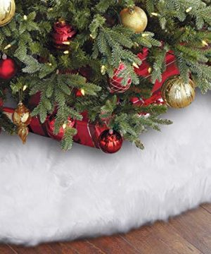 Eafion Christmas Tree Skirt 48 Inches Large Snowy White Faux Fur Xmas Tree Skirt For Christmas Decorations Indoor Outdoor 0 300x360