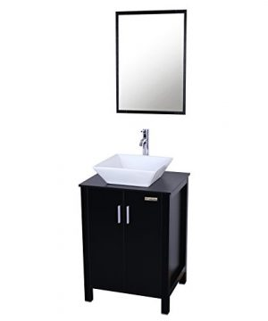 Eclife Fashion Design 24 Inch Updates Modern Bathroom Vanity And Sink Combo White Square Ceramic Vessel Sink With Chrome Bathroom Solid Brass Faucet And Pop Up Drain Combo A7B4 0 300x360