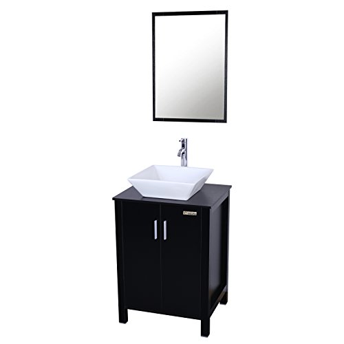 Eclife Fashion Design 24 Inch Updates Modern Bathroom Vanity And Sink Combo White Square Ceramic Vessel Sink With Chrome Farmhouse Goals