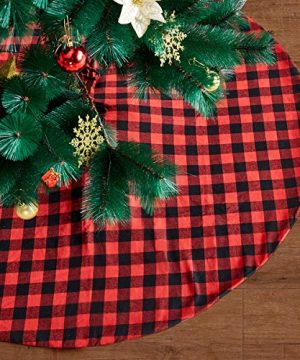 Eiley 48 Inches Christmas Tree Skirt Red And Black Plaid Buffalo Check Double Layers Skirts For Christmas Decorations Indoor Outdoor Xmas Party Holiday Ornaments 48 Inches 0 300x360