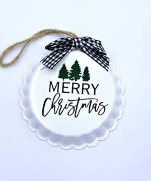 Elegant Blooms Things White Farmhouse Pie Plate Christmas Ornament Merry Christmas Trees Gingham 0 300x360
