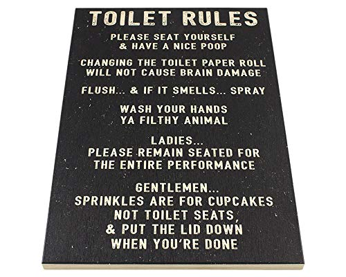 Toilet Rules Metal Plaque Sign Bathroom Funny Home Humor Gift Christmas