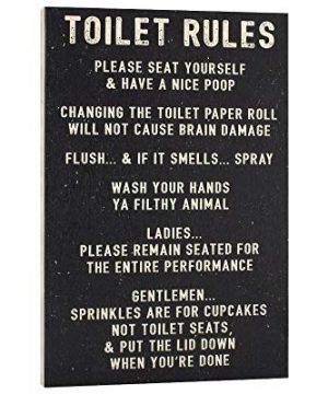 Elegant Signs Toilet Rules Sign Funny Bathroom Decor Please Seat Yourself And Have A Nice Poop Wash Your Hands Ya Filthy Animal 0 300x360