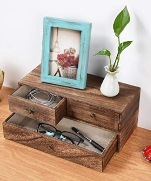 Emfogo Floating Shelf With Drawer Rustic Wood Wall Shelves For Storage And Display Multiuse As A Nightstand Or Bedside Shelf Set Of 2 0 0 300x360