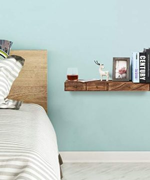 Emfogo Floating Shelf With Drawer Rustic Wood Wall Shelves For Storage And Display Multiuse As A Nightstand Or Bedside Shelf Set Of 2 0 1 300x360