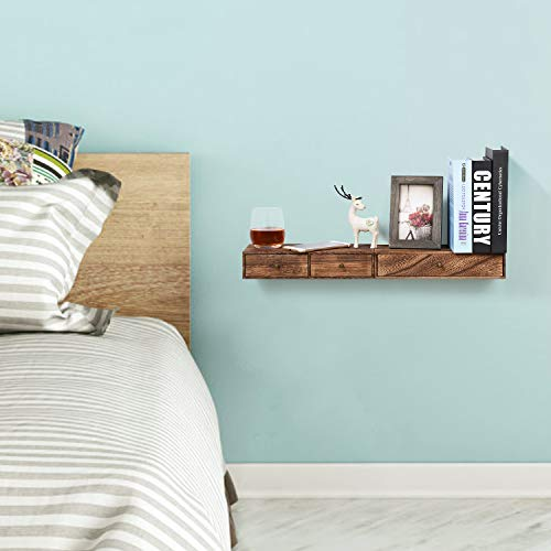 Emfogo Floating Shelf With Drawer Rustic Wood Wall Shelves For Storage And Display Multiuse As A Nightstand Or Bedside Shelf Set Of 2 0 1