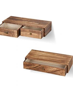 Emfogo Floating Shelf With Drawer Rustic Wood Wall Shelves For Storage And Display Multiuse As A Nightstand Or Bedside Shelf Set Of 2 0 2 300x360