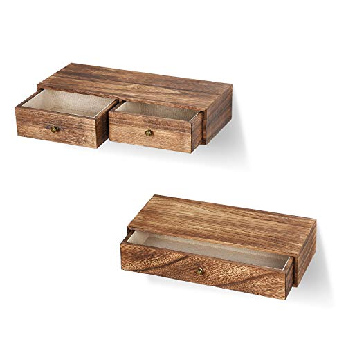 Emfogo Floating Shelf With Drawer Rustic Wood Wall Shelves For Storage And Display Multiuse As A Nightstand Or Bedside Shelf Set Of 2 0 2