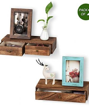 Emfogo Floating Shelf With Drawer Rustic Wood Wall Shelves For Storage And Display Multiuse As A Nightstand Or Bedside Shelf Set Of 2 0 300x360
