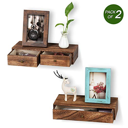 Emfogo Floating Shelf With Drawer Rustic Wood Wall Shelves For Storage And Display Multiuse As A Nightstand Or Bedside Shelf Set Of 2 0