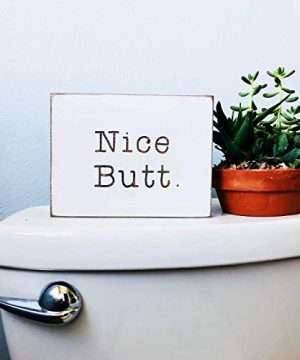 Etch Ember Funny Bathroom Signs Nice Butt Farmhouse Style Decor Rustic Wood Sign 55 X 75 X 34 0 300x360
