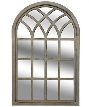 Everly Hart Collection Distressed GrayFarmhouse Cathedral Windowpane Wall Mounted Mirror 0 300x360