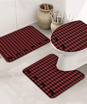 FAMILYDECOR 3 Piece Bath Rug Set Black Red Buffalo Check Lattice With Bear Includes U Shape Contoured Toilet Mat 30x18 Ultra Soft Non Slip And Absorbent Bathroom Shower Mat Toilet Lid Cover 0 300x360