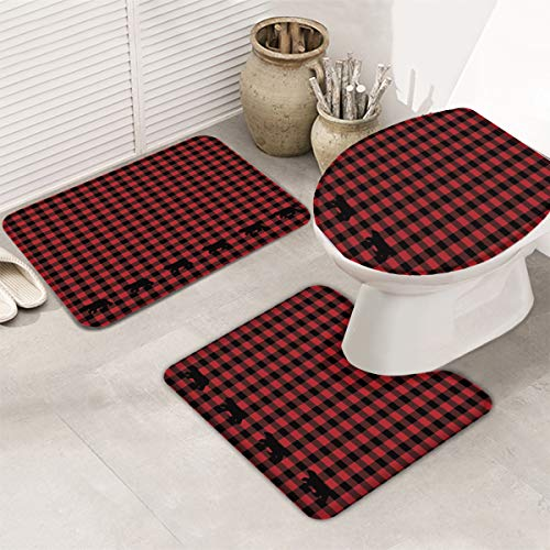 Bath Rug Set Black Red Buffalo Check