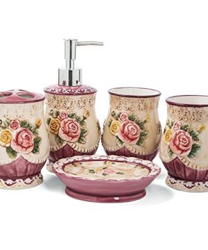 FORLONG FL3007 Ceramic Bathroom Accessory Set Victorian Flower 5 Pieces Including 1 Toothbrush Holders2 Gargle Tooth Brushing Cups1 Soap Dishes1 Lotion Dispenser Dark Pink 0 300x360
