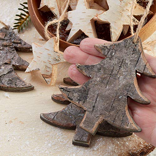 Factory Direct Craft Rustic Birch Tree And Star Hanging Christmas Tree Ornaments 15 Ornaments 0 0
