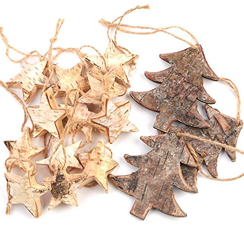 Factory Direct Craft Rustic Birch Tree And Star Hanging Christmas Tree Ornaments 15 Ornaments 0