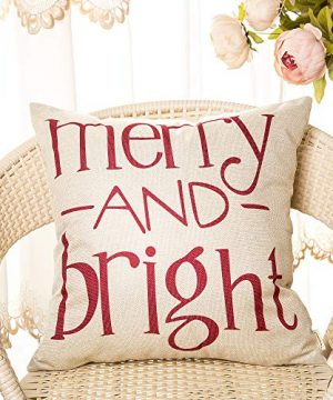 Fahrendom Red Christmas Sign Merry and Bright Farmhouse Style Winter Cotton  Linen Home Decorative Throw Pillow Case Cushion Cover with Words for Sofa  ...