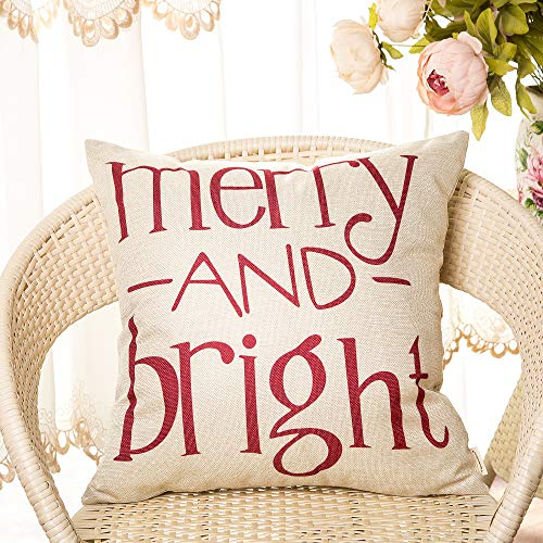 Fahrendom Red Christmas Sign Merry And Bright Farmhouse Style Winter Cotton Linen Home Decorative Throw Pillow Case Cushion Cover With Words For Sofa Couch 18 X 18 In 0 0