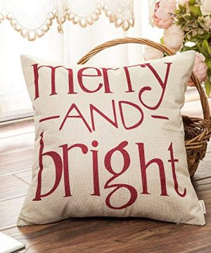 Fahrendom Red Christmas Sign Merry And Bright Farmhouse Style Winter Cotton Linen Home Decorative Throw Pillow Case Cushion Cover With Words For Sofa Couch 18 X 18 In 0 1 300x360