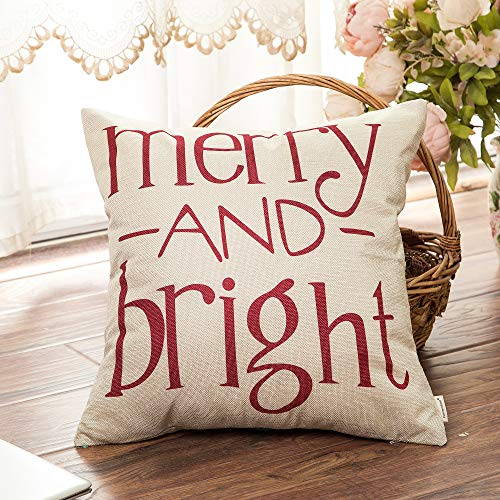 Fahrendom Red Christmas Sign Merry And Bright Farmhouse Style Winter Cotton Linen Home Decorative Throw Pillow Case Cushion Cover With Words For Sofa Couch 18 X 18 In 0 1
