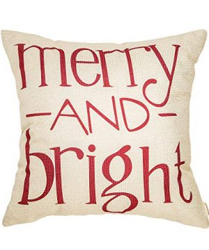 Fahrendom Red Christmas Sign Merry And Bright Farmhouse Style Winter Cotton Linen Home Decorative Throw Pillow Case Cushion Cover With Words For Sofa Couch 18 X 18 In 0 300x360