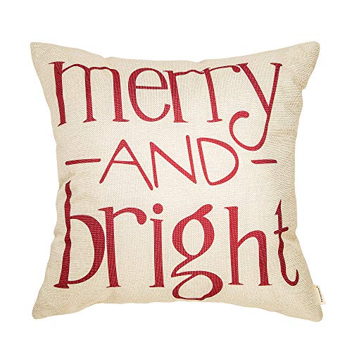 Fahrendom Red Christmas Sign Merry And Bright Farmhouse Style Winter Cotton Linen Home Decorative Throw Pillow Case Cushion Cover With Words For Sofa Couch 18 X 18 In 0