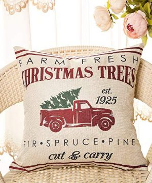 Fahrendom Rustic Farmhouse Style Farm Fresh Christmas Trees Red Vintage Truck With Trees Winter Holiday Sign Gift Cotton Linen Home Decorative Throw Pillow Case Cushion Cover With Words For Sofa Couch 0 0 300x360