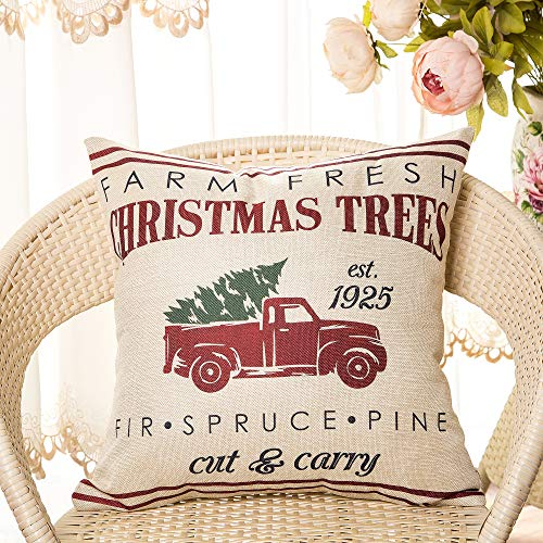 Fahrendom Rustic Farmhouse Style Farm Fresh Christmas Trees Red Vintage Truck With Trees Winter Holiday Sign Gift Cotton Linen Home Decorative Throw Pillow Case Cushion Cover With Words For Sofa Couch 0 0