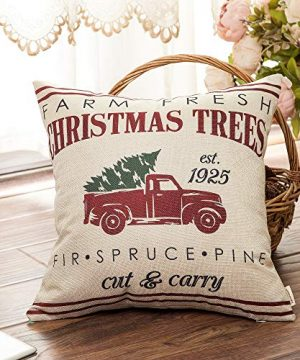 Fahrendom Rustic Farmhouse Style Farm Fresh Christmas Trees Red Vintage Truck With Trees Winter Holiday Sign Gift Cotton Linen Home Decorative Throw Pillow Case Cushion Cover With Words For Sofa Couch 0 1 300x360