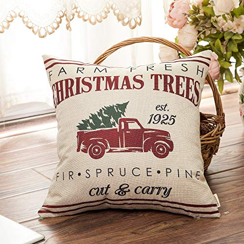 Fahrendom Rustic Farmhouse Style Farm Fresh Christmas Trees Red Vintage Truck With Trees Winter Holiday Sign Gift Cotton Linen Home Decorative Throw Pillow Case Cushion Cover With Words For Sofa Couch 0 1
