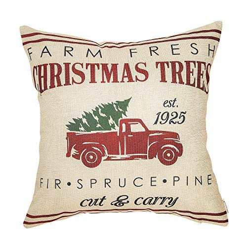 Fahrendom Rustic Farmhouse Style Farm Fresh Christmas Trees Red Vintage Truck With Trees Winter Holiday Sign Gift Cotton Linen Home Decorative Throw Pillow Case Cushion Cover With Words For Sofa Couch 0