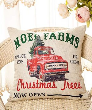 Fahrendom Rustic Farmhouse Style Noel Farms Christmas Trees Red Vintage Truck Winter Holiday Sign Cotton Linen Home Decorative Throw Pillow Case Cushion Cover With Words For Sofa Couch 18 X 18 In 0 0 300x360