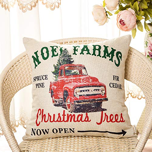 Fahrendom Rustic Farmhouse Style Noel Farms Christmas Trees Red Vintage Truck Winter Holiday Sign Cotton Linen Home Decorative Throw Pillow Case Cushion Cover With Words For Sofa Couch 18 X 18 In 0 0