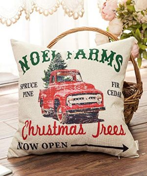 Fahrendom Rustic Farmhouse Style Noel Farms Christmas Trees Red Vintage Truck Winter Holiday Sign Cotton Linen Home Decorative Throw Pillow Case Cushion Cover With Words For Sofa Couch 18 X 18 In 0 1 300x360