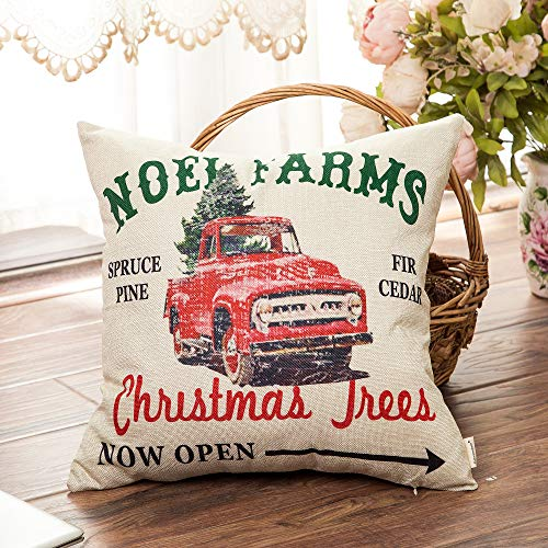 Fahrendom Rustic Farmhouse Style Noel Farms Christmas Trees Red Vintage Truck Winter Holiday Sign Cotton Linen Home Decorative Throw Pillow Case Cushion Cover With Words For Sofa Couch 18 X 18 In 0 1