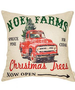 Fahrendom Rustic Farmhouse Style Noel Farms Christmas Trees Red Vintage Truck Winter Holiday Sign Cotton Linen Home Decorative Throw Pillow Case Cushion Cover With Words For Sofa Couch 18 X 18 In 0 300x360